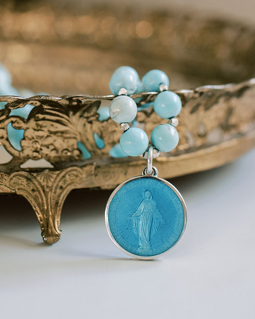 Sterling and Enamel Miraculous Medal Necklace