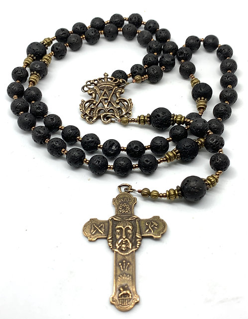 Lava Rock and Bronze Rosary, Auspice Maria and Holy Face Cross