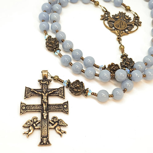 Angel Stone and Bronze Lourdes and Caravaca Crucifix Rosary