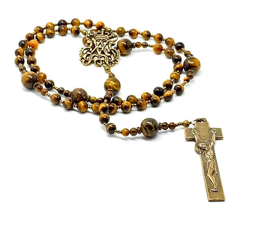 Tiger Eye and Bronze Penal Rosary