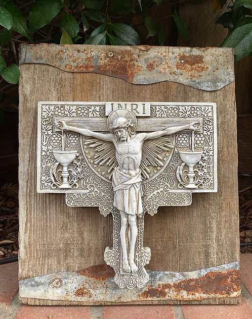 Precious Blood Crucifix on Repurposed Wood