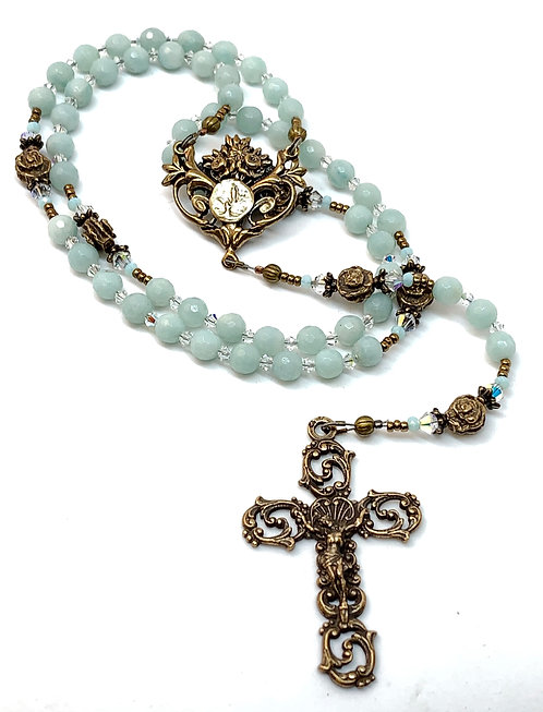 Green Amazonite and Bronze Lourdes Rosary