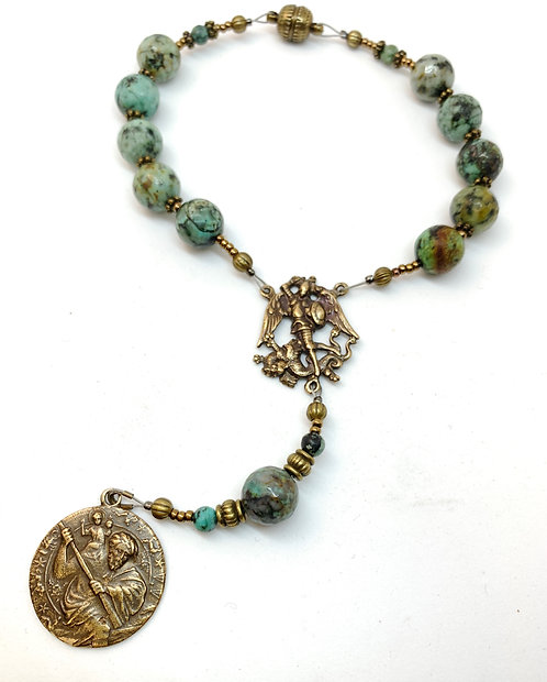 Car Rosary African Turquoise and Bronze