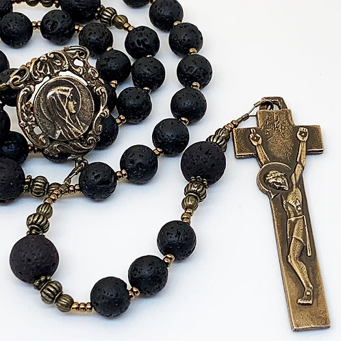 Lava Rock and Bronze, Our Lady Profile and Penal Crucifix Rosary