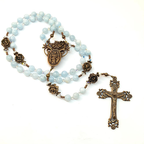 Aquamarine and Bronze Undoer of Knots Rosary