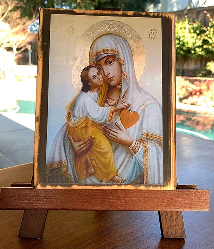 """Mother and Child Gold & White  7""""h x 5.5""""w"""