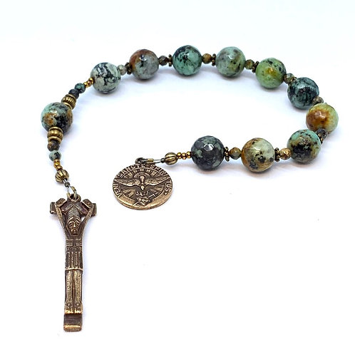 "African ""Turquoise"" (Agate) and Bronze Penal Crucifix, Holy Spirit"