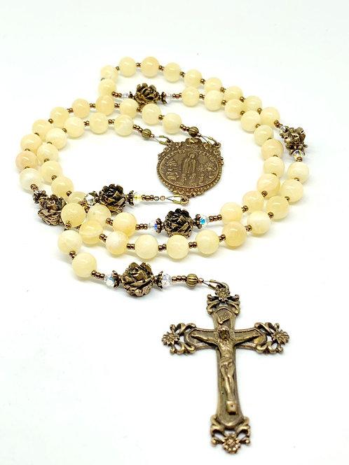 Yellow Calcite and Bronze Fatima Rosary