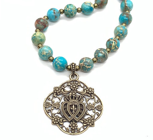 "Two Hearts of Jesus and Mary, Bronze and ""Turquoise"" Sea Jasper"