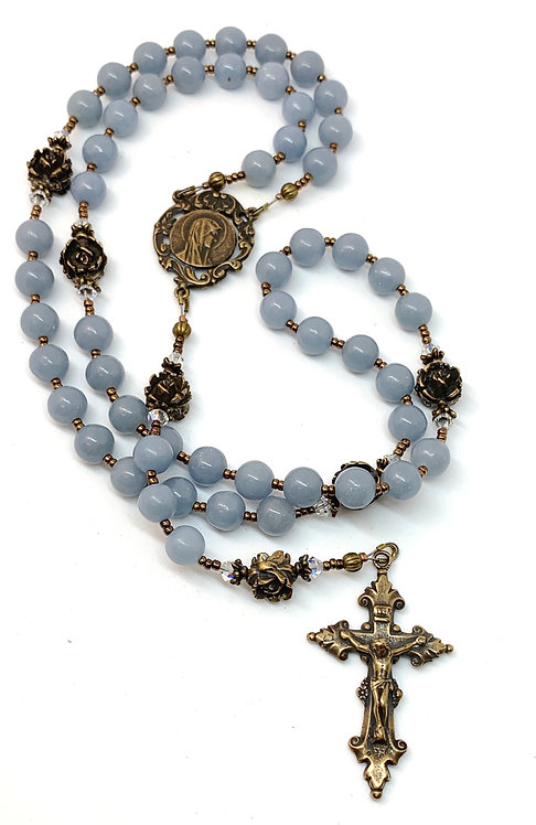 Blue Angel Stone and Bronze Rosary