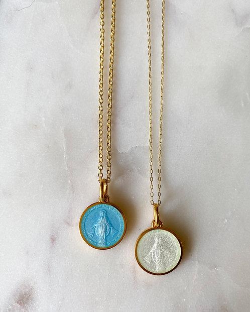"Nickel Size 3/4"" (Medium) Gold Plate - Enamel Miraculous Medal Pendant"