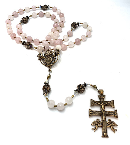 Rose Quartz Lourdes and Caravaca Crucifix Rosary