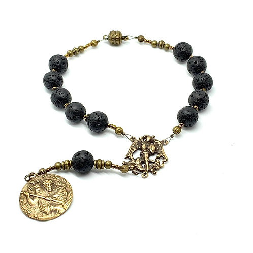 Car Rosary Lava Rock and Bronze