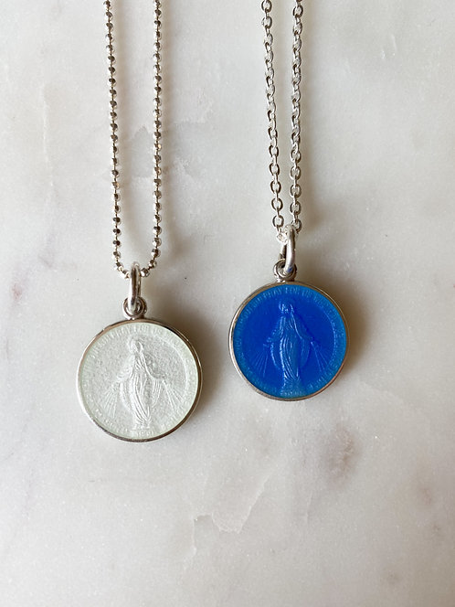 "Dime Size 1/2"" (Small) Sterling - Enamel Miraculous Medal Pendant-Chain is Extra"
