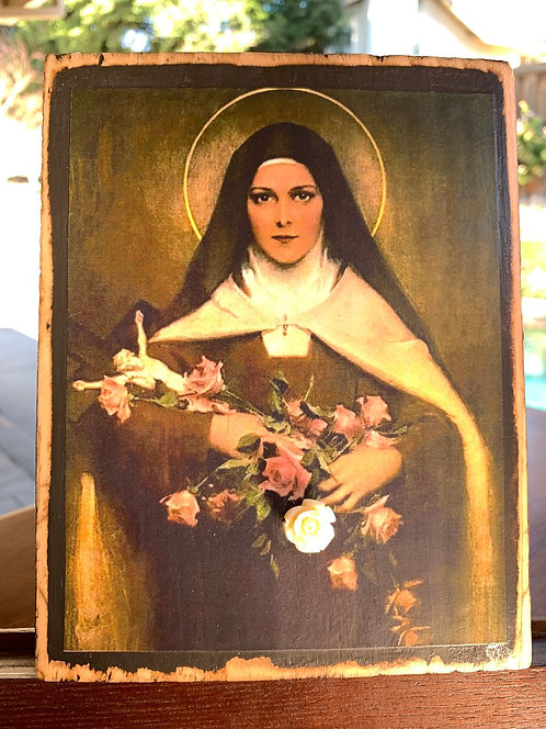 """St Therese of Lisieux (the Little Flower of Jesus) 7""""h x 5.5""""w"""