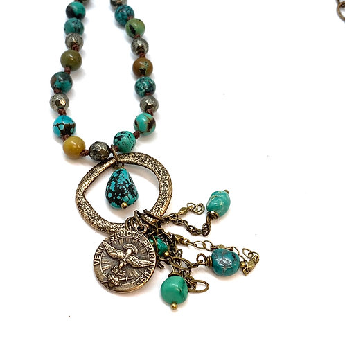 Turquoise and Bronze Chain Hand Knotted Necklace