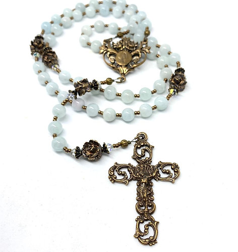 Aquamarine and Bronze Lourdes Rosary