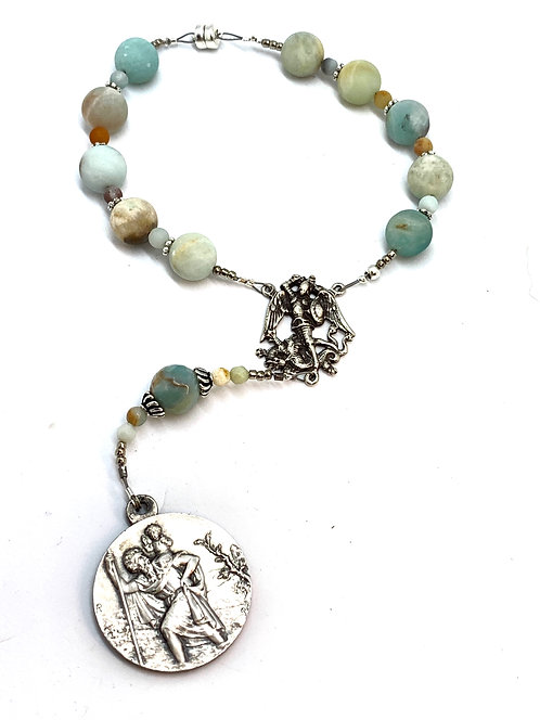 Vintage Silver St. Christopher and Amazonite Car Rosary