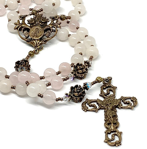 Rose Quartz and Bronze Lourdes Rosary