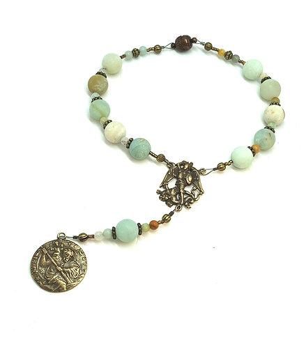 Green Amazonite and Bronze Car Rosary