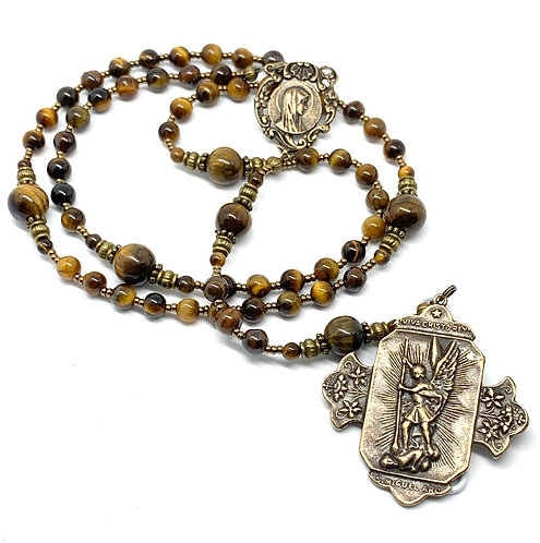 Tigereye and Bronze St. Michael Rosary