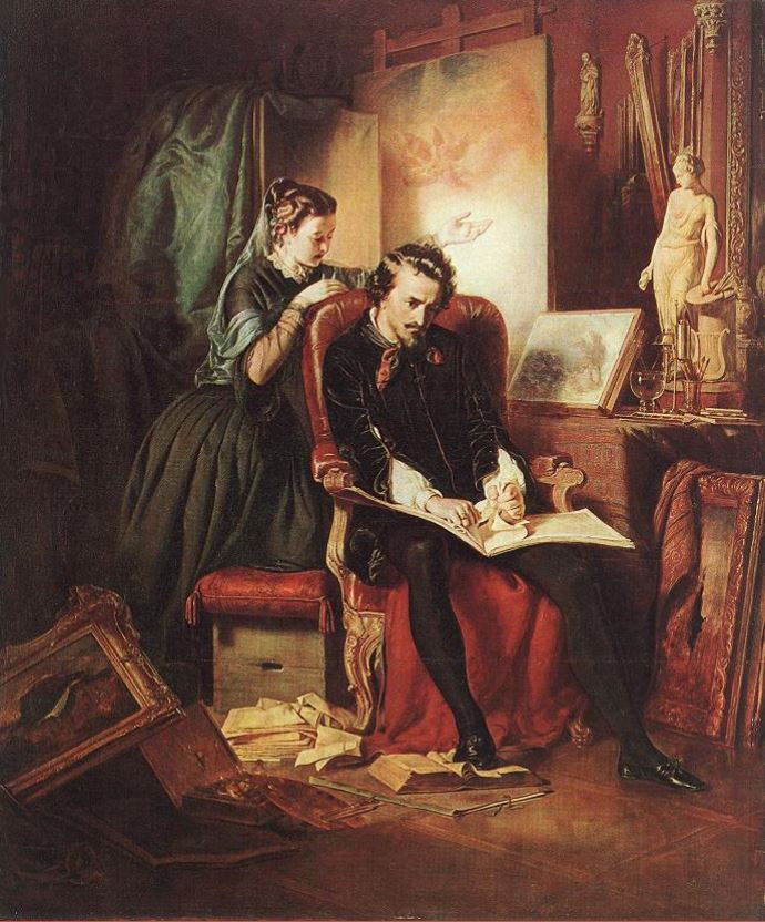 The Dissatisfied Painter (Crisis in the Life of a Painter) by József Borsos, 1852