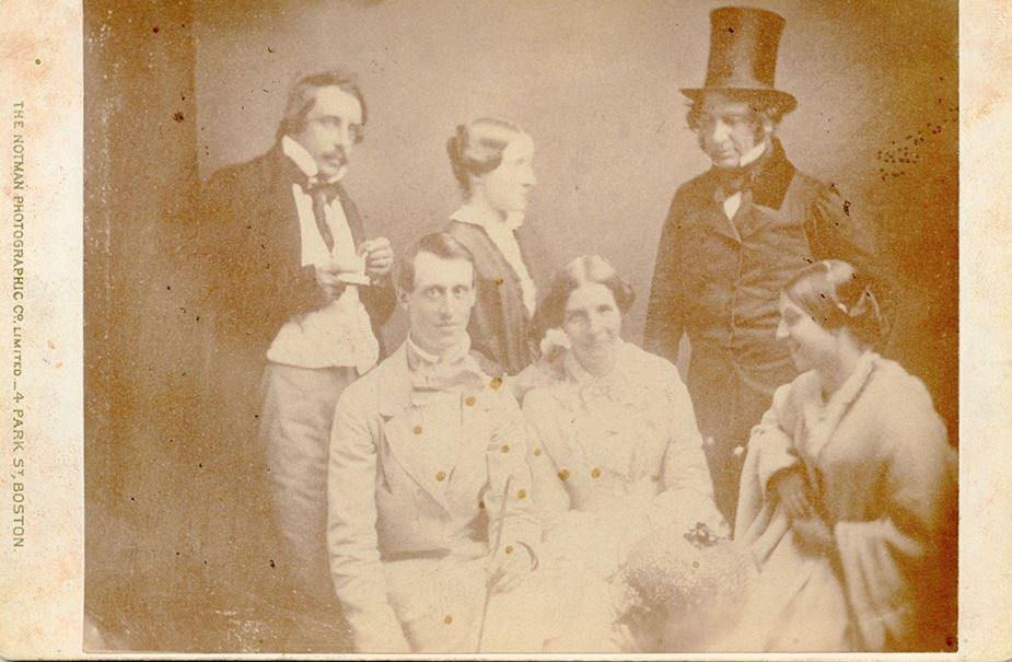 Image: Copy of daguerreotype taken in summer 1852 of Henry and Fanny Longfellow vacationing with family and friends in Newport, RI.
