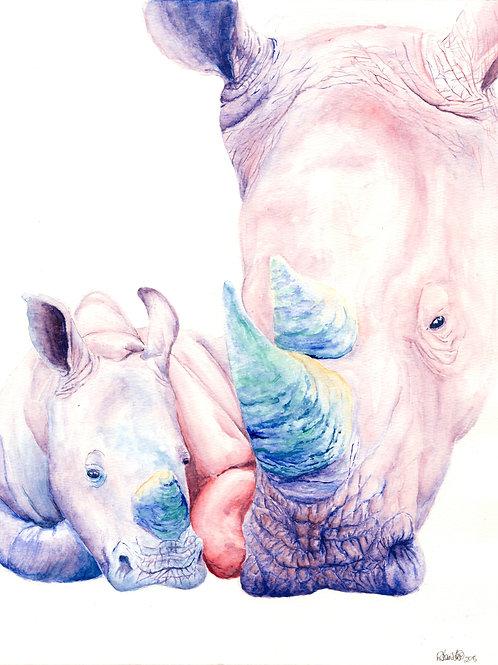 Rhino Mom and Baby Print