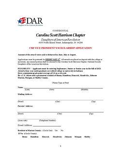 2021 VP DAR Scholarship Application pg 1
