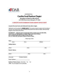 2021 CSH DAR Scholarship Application pg