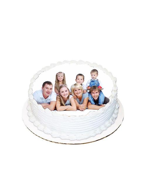 Aile Yuvarlak Resimli Pasta