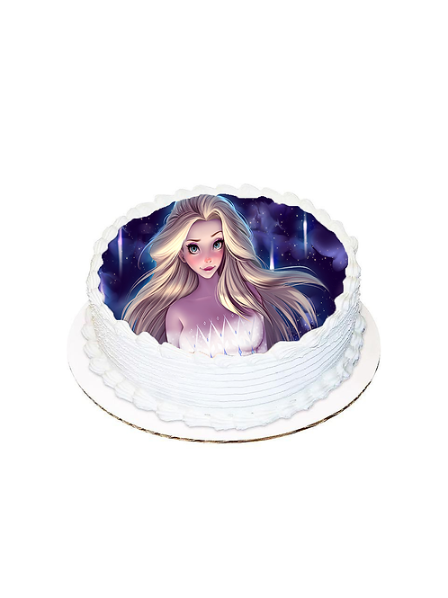 Elsa Yuvarlak Resimli Pasta