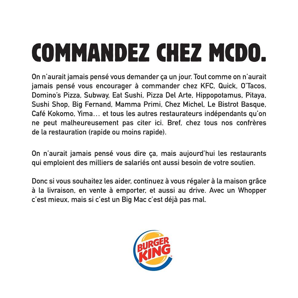 Communiqué de la marque Burger King pendant la période Covid-19