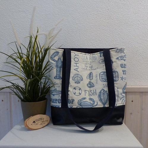 Einkaufstasche maritim blau