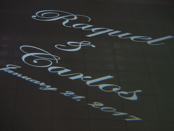 Gobo with Name in Lights on Dance Floor
