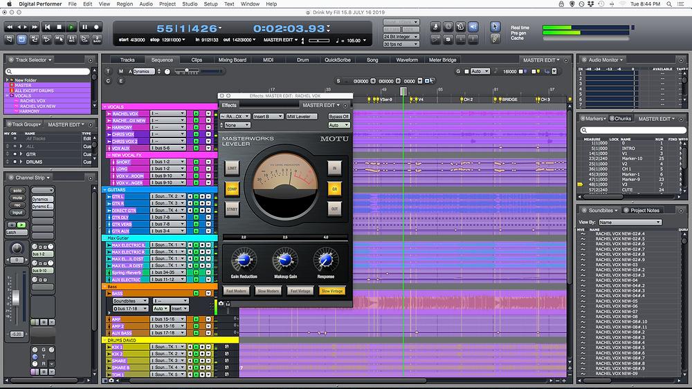 Drink My Fill - Digital Performer mixing