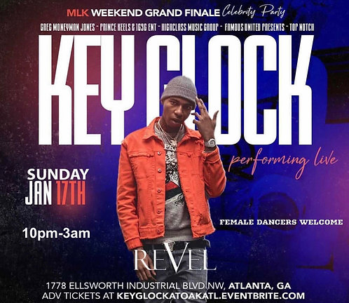 Key Glock slots Sunday 1.17 in Atlanta @ oak (6 mins Slot + 2 Guest VIP)