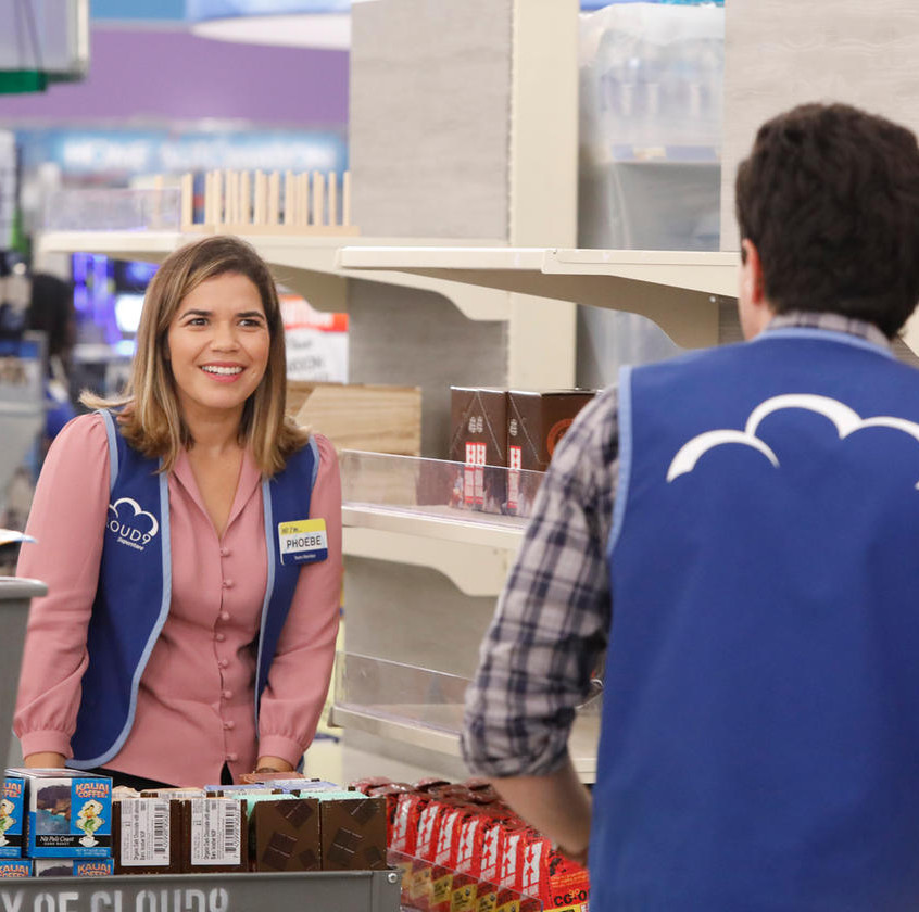 SUPERSTORE -- _Grand Re-Opening_ Episode 301 -- Pictured- America Ferrera as Amy -- (Photo by- Evans Vestal Ward_NBC) Evans Vestal Ward_NBC _ 2017 NBCUniversal Media, LLC