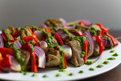 lamb kebabs with mint and cilantro sauce