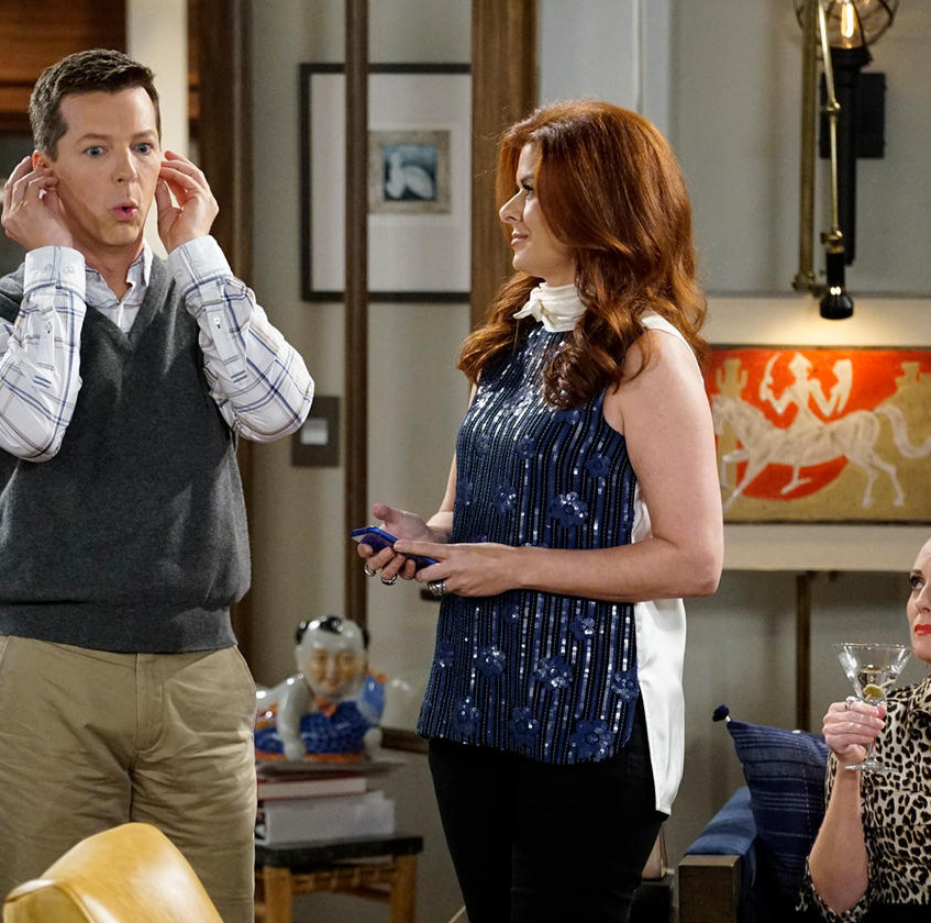 WILL_&_GRACE_--__11_Years_Later__Episode_101_--_Pictured-_(l-r)_Sean_Hayes_as_Jack_McFarland,_Debra_Messing_as_Grace_Adler,_Megan_Mullally_…