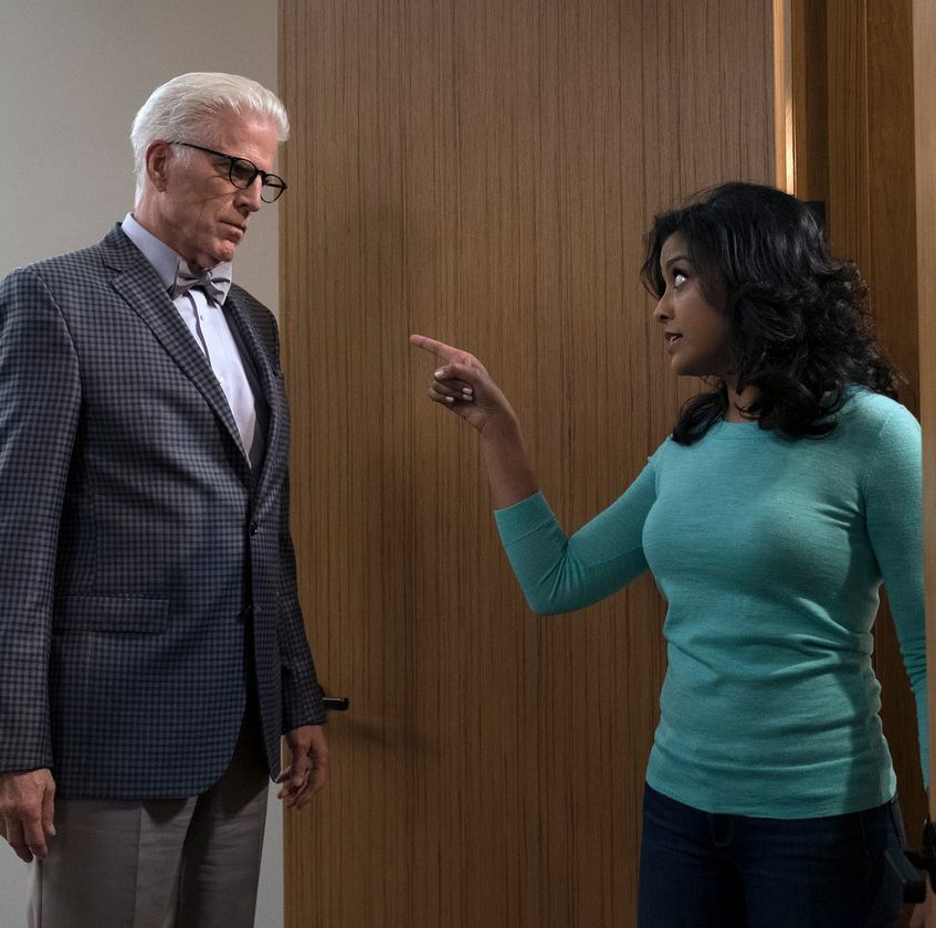 THE_GOOD_PLACE_--__Janet_and_Michael__Episode_207_--_Pictured-_(l-r)_Ted_Danson_as_Michael,_Tiya_Sircar_as_Vicky_--_(Photo_by-_Colleen_Hayes…_Colleen_Hayes_NBC___2017_NBCUniversal_Media,_LLC