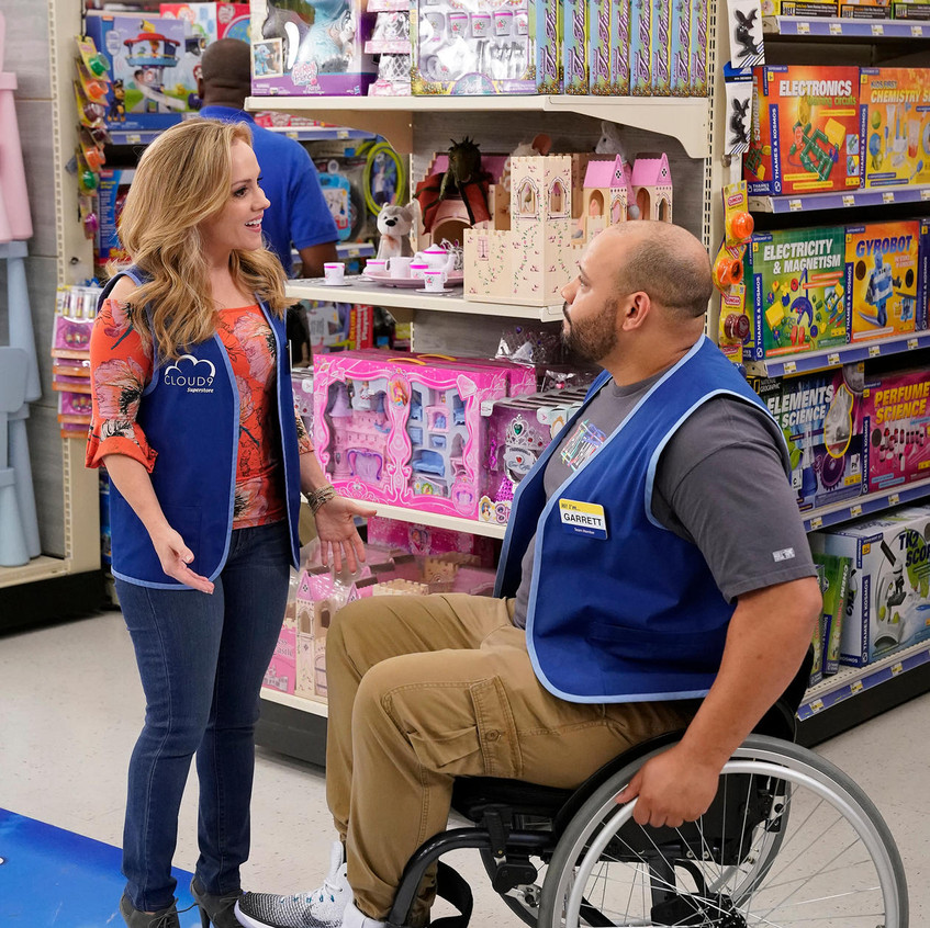 SUPERSTORE -- _Part-Time Hires_ Episode 303 -- Pictured- (l-r) Kelly Stables as Kelly, Colton Dunn as Garrett -- (Photo by- Greg Gayne_NBC)