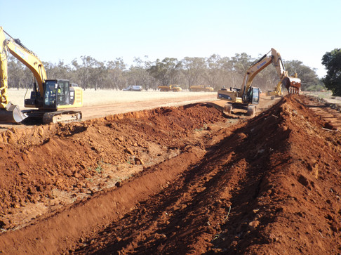 Extons Earthmoving Channel Works Prepare for Lining and Excavation of Anchor Trench