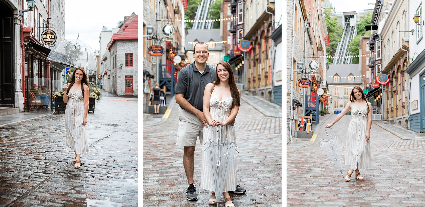 Three photos of a woman and man posing with an umbrella in Old Quebec