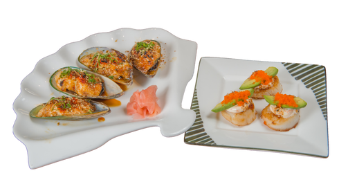 Baked Scallops and Baked Mussels