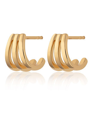 Gold Triple Split Huggie Stud Earrings b