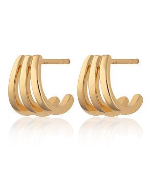 Gold Triple Split Huggie Stud Earrings b