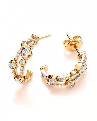 Silver, CZ and Gold Vermeil Boodled Earr