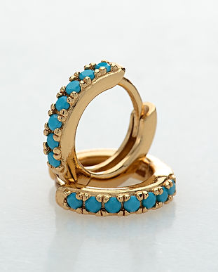 Gold Huggie Earrings With Turquoise Ston