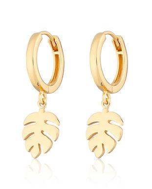 Silver Leaf Drop Huggie Hoop Earrings by
